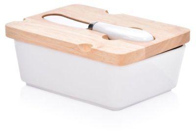 Maselniczka z nożykiem DUKA WAREWOOD biała porcelana