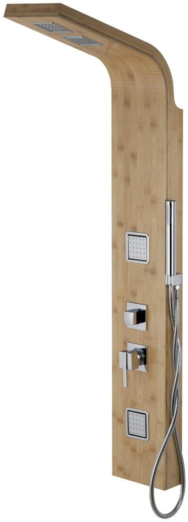 Corsan drewniany panel prysznicowy z termostatem chrom Bao B-022T