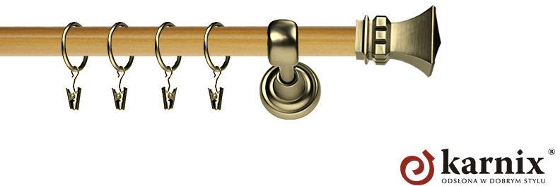 Karnisz Metalowy Prestige pojedynczy 25mm Orto Antyk mosiądz - pinia