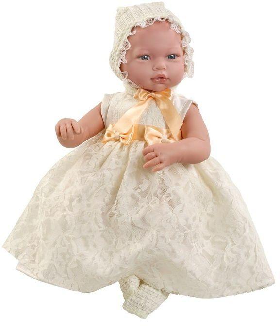 Lalka hiszpańska bobas Alba w białej sukience - 38 cm