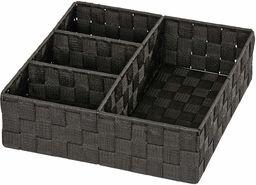 Wenko Organizer Adria  pudełko do przechowywania, 4 kieszenie, 32 x 10 x 32 cm, kolor czarny
