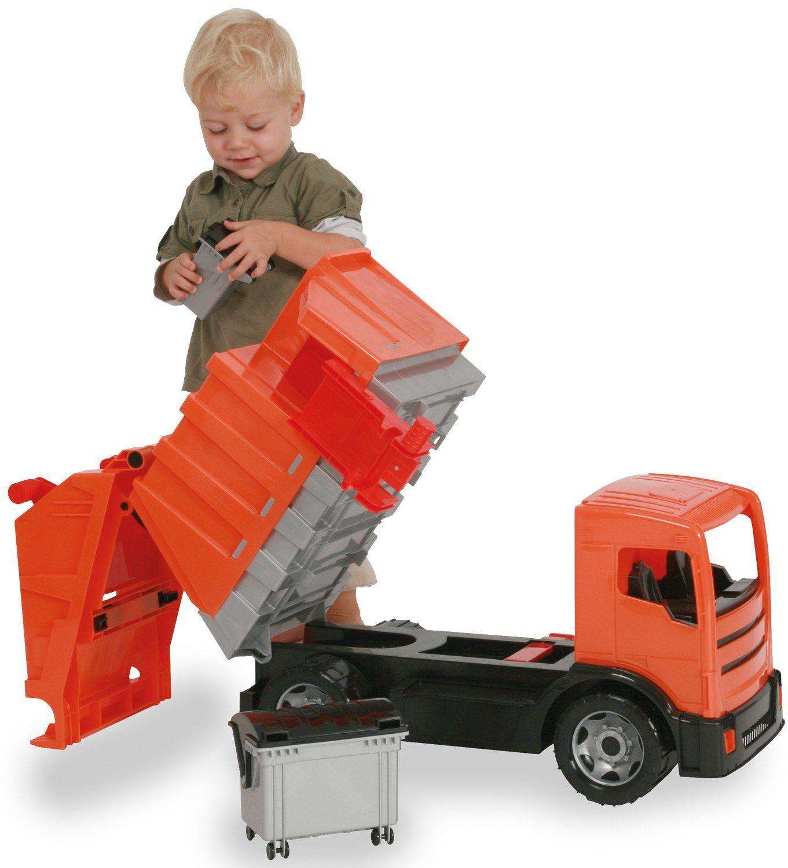 Lena M00002731 olbrzymi wózek na śmieci, giga Trucks, ok. 72 cm, wytrzymały ciężar, z 2 osiami, funkcją łapania śmieci i 2 pojemnikami na śmieci, pojazd XXL dla dzieci od 3 lat, pomarańczowy, szary