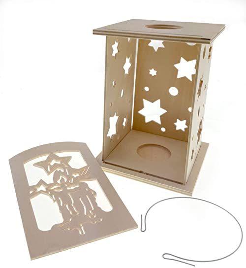 Hess Holzspielzeug 40024 - zestaw do majsterkowania latarnia 7-częściowy, motyw świecy i gwiazd, z drewna, ok. 12 x 12 x 20 cm, dekoracja na czas adwentu i Bożego Narodzenia z Rudaw