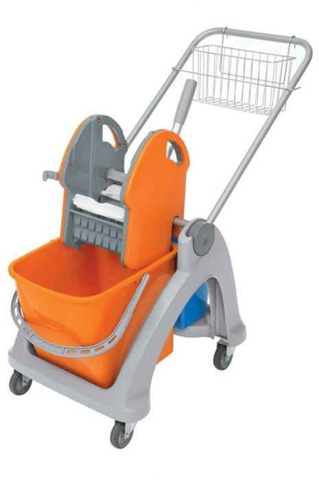 Wózek do sprzątania dwuwiadrowy Splast, pomarańczowo-niebieski