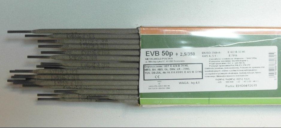 ELEKTRODY ZASADOWE EVB 50p FI 2,5MM