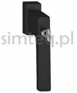 Klamka okienna z kluczem Toulon F9714M/czarny mat - trzpień 32-42 mm