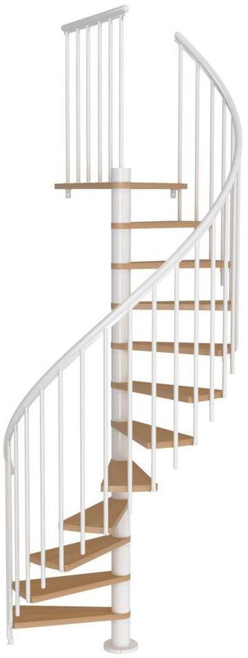 Schody spiralne Białe Calgary z dodatkowymi tralkami średnica 140 cm stopnie szerokość 72.7 cm Buk 11 sztuk Dolle
