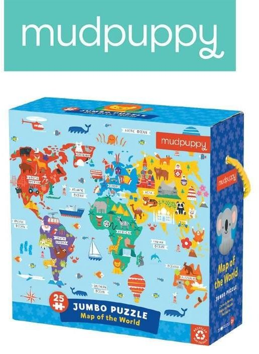 Mudpuppy puzzle podłogowe jumbo mapa świata 25 elementów 2+