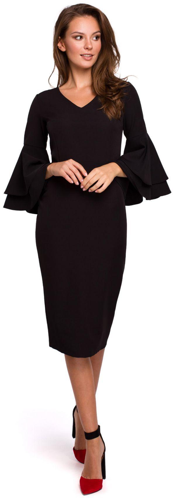 K002 Sukienka z falbanami przy rękawach - czarna