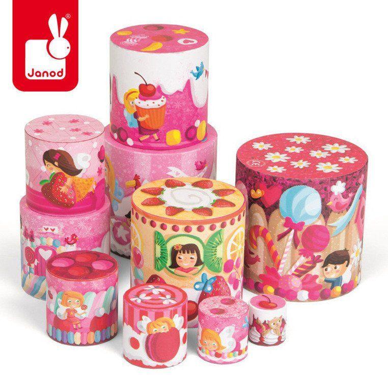 Piramida słodkości - klocki dla dzieci, JND02829-Janod, zabawki z tektury, dla dziewczynek