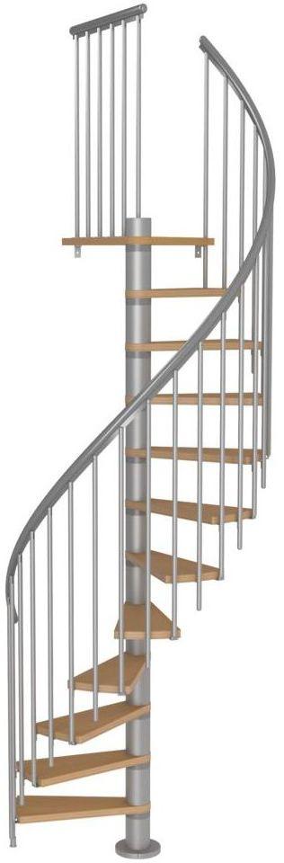 Schody spiralne Srebrne Calgary z dodatkowymi tralkami średnica 120 cm stopnie szerokość 62.7 cm Buk 11 sztuk Dolle