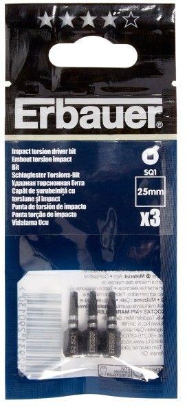 Bity udarowe Erbauer 25 mm SQ1 3 szt.