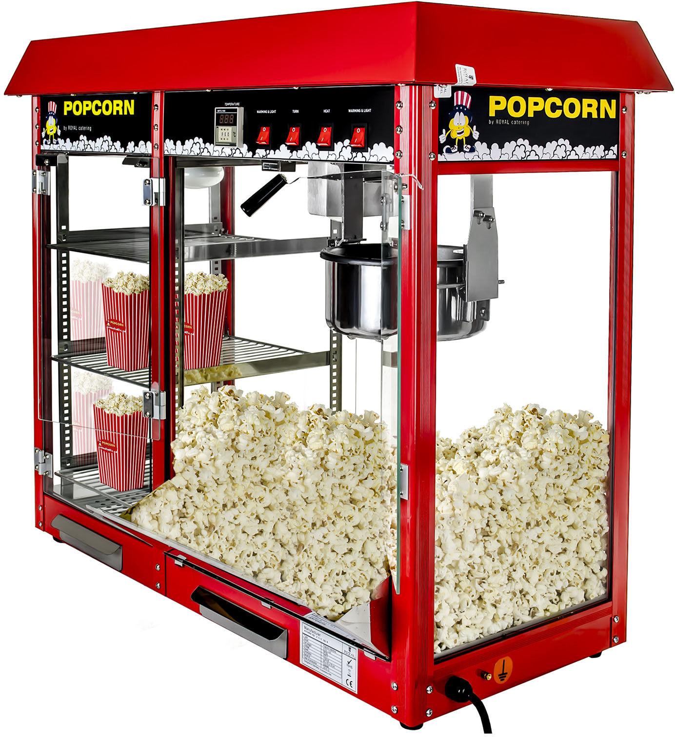 Maszyna do popcornu z witryną grzewczą - czerwona - Royal Catering - RCPC-16E - 3 lata gwarancji/wysyłka w 24h