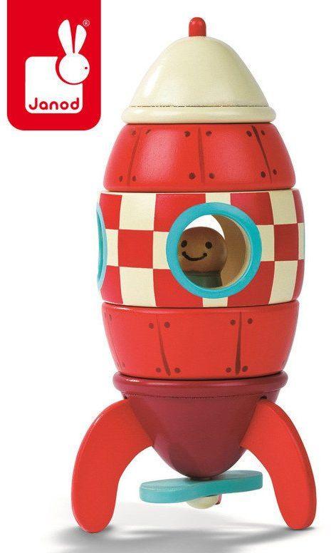 """Drewniana, mała, magnetyczna rakieta, """"Czerwona strzała"""", JND05207-Janod, zabawki dla chłopców"""