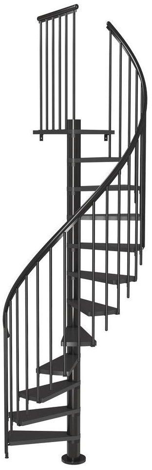 Schody spiralne Antracytowe Calgary z dodatkowymi tralkami średnica 120 cm stopnie szerokość 62.7 cm Antracyt 11 sztuk Dolle