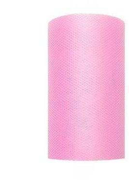 Tiul dekoracyjny różowy 8cm rolka 20m TIU8-081 - 8CM RÓŻOWY