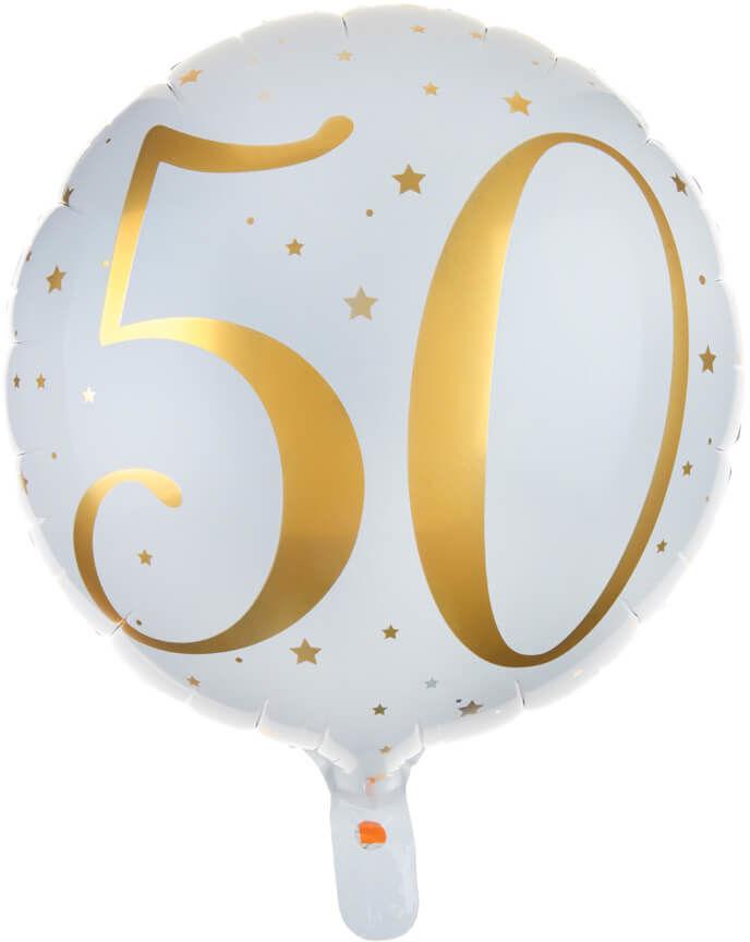 Balon foliowy biały ze złotym nadrukiem - 50tka - 35 cm - 1 szt.
