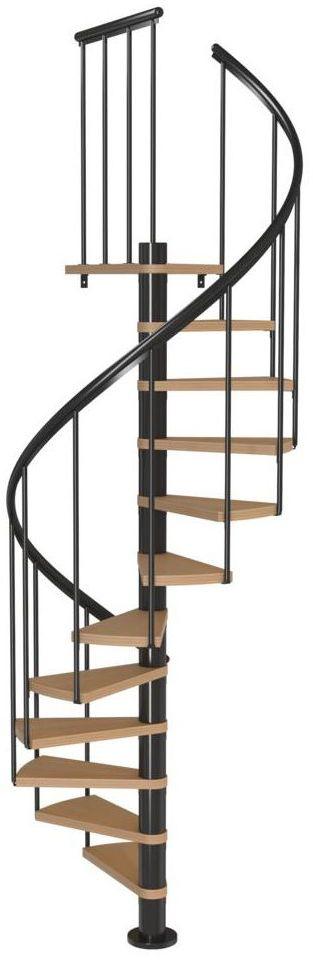 Schody spiralne Antracytowe Calgary średnica 120 cm stopnie szerokość 62.7 cm Buk 11 sztuk Dolle