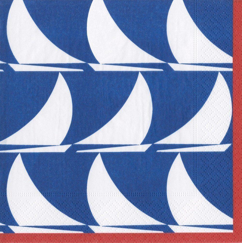 Entertaining with Caspari Sail Away koktajlowe serwetki papierowe, granatowe, 12,7 x 12,7 x 3 cm
