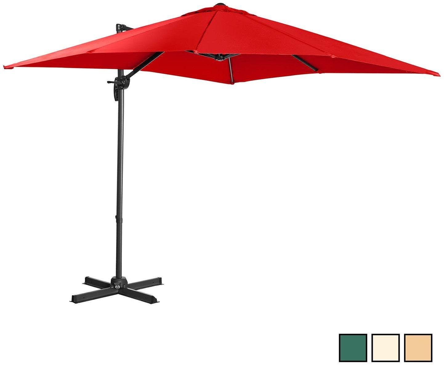 Parasol ogrodowy wiszący - obrotowy - 250 x 250 cm - czerwony - Singercon - CON.GU-R250A - 3 lata gwarancji/wysyłka w 24h