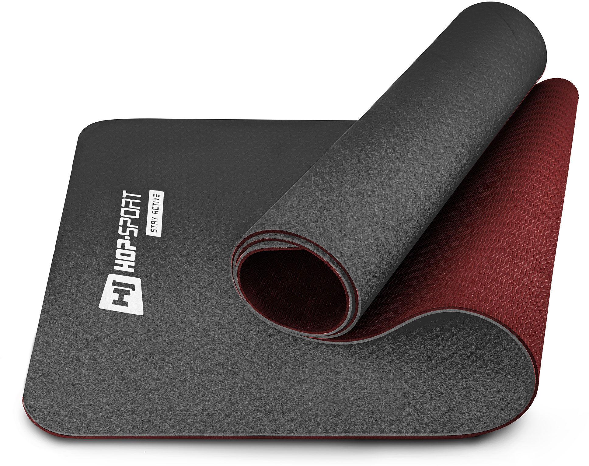 Mata fitness TPE 0,6cm czarno/czerwona