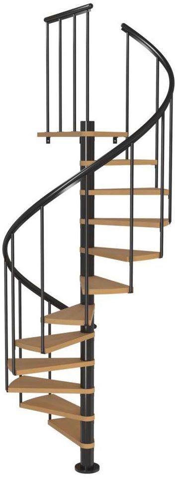 Schody spiralne Antracytowe Calgary średnica 140 cm stopnie szerokość 72.7 cm Buk 11 sztuk Dolle