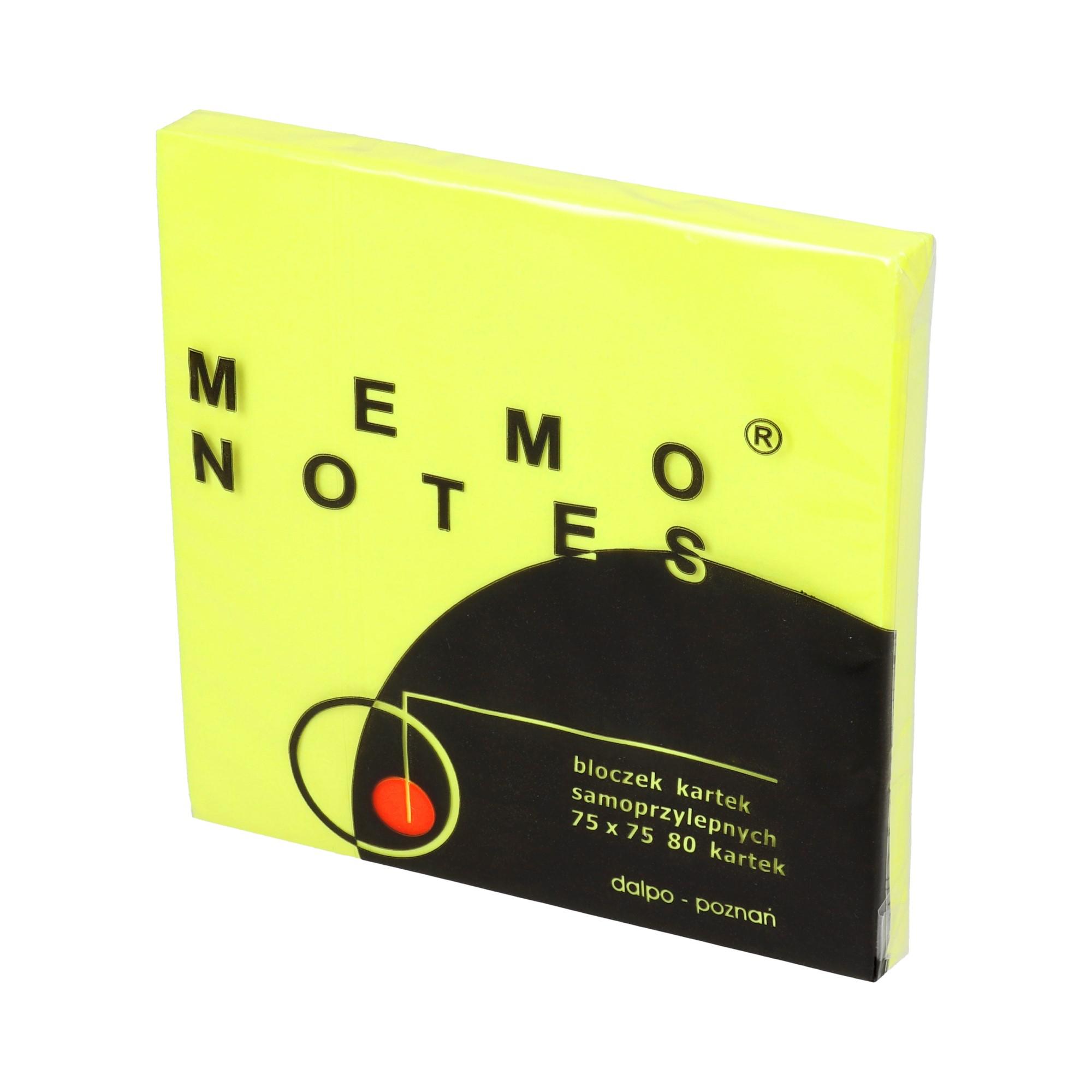 Karteczki samoprzylepne 75x75/80 intensywny żółty Dalpo