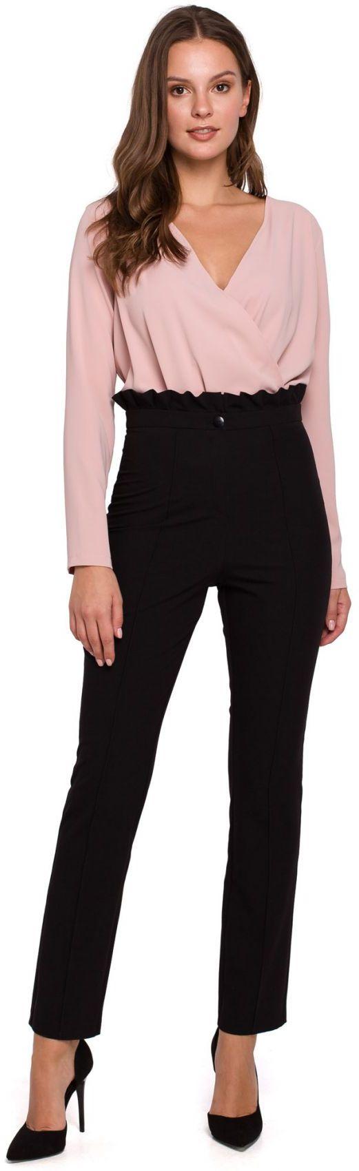 K008 Spodnie z wysokim stanem i falbanką - czarny
