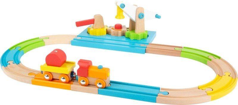 Kolejka drewniana Kolorowa stacja załadunkowa na trybach 11494-Small Foot, kolejki dla dzieci