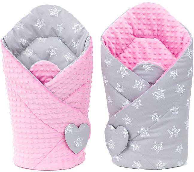 MAMO-TATO Rożek niemowlęcy dwustronny minky Gwiazdy bąbelkowe białe duże / róż