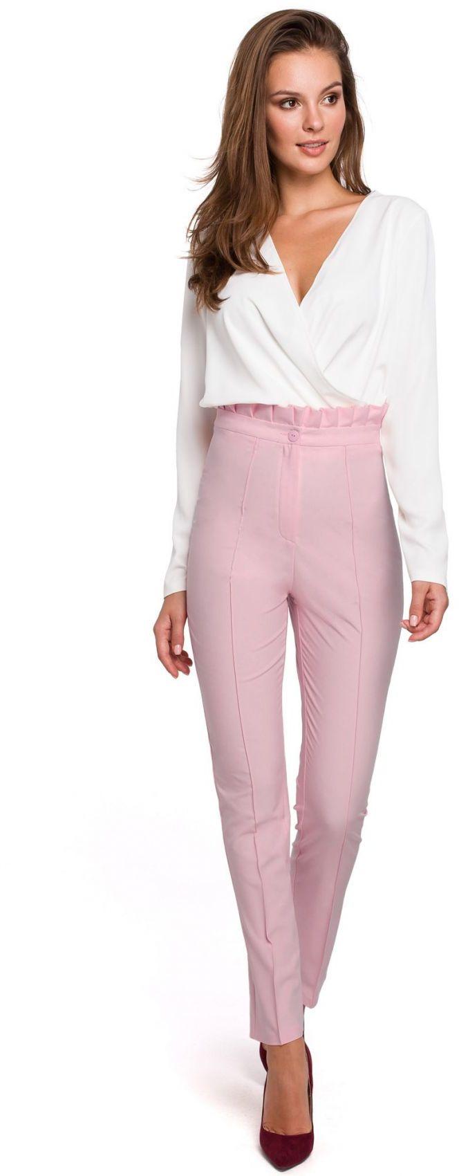 K008 Spodnie z wysokim stanem i falbanką - lilac