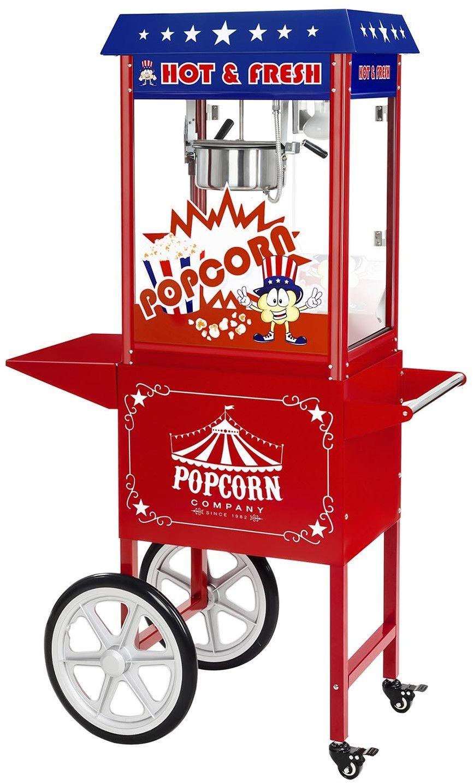 Maszyna do popcornu - wózek - amerykański design + Żarówka LED RGB - Royal Catering - RCPW-16.1 Popcorn Machine LED Set - 3 lata gwarancji/wysyłka w