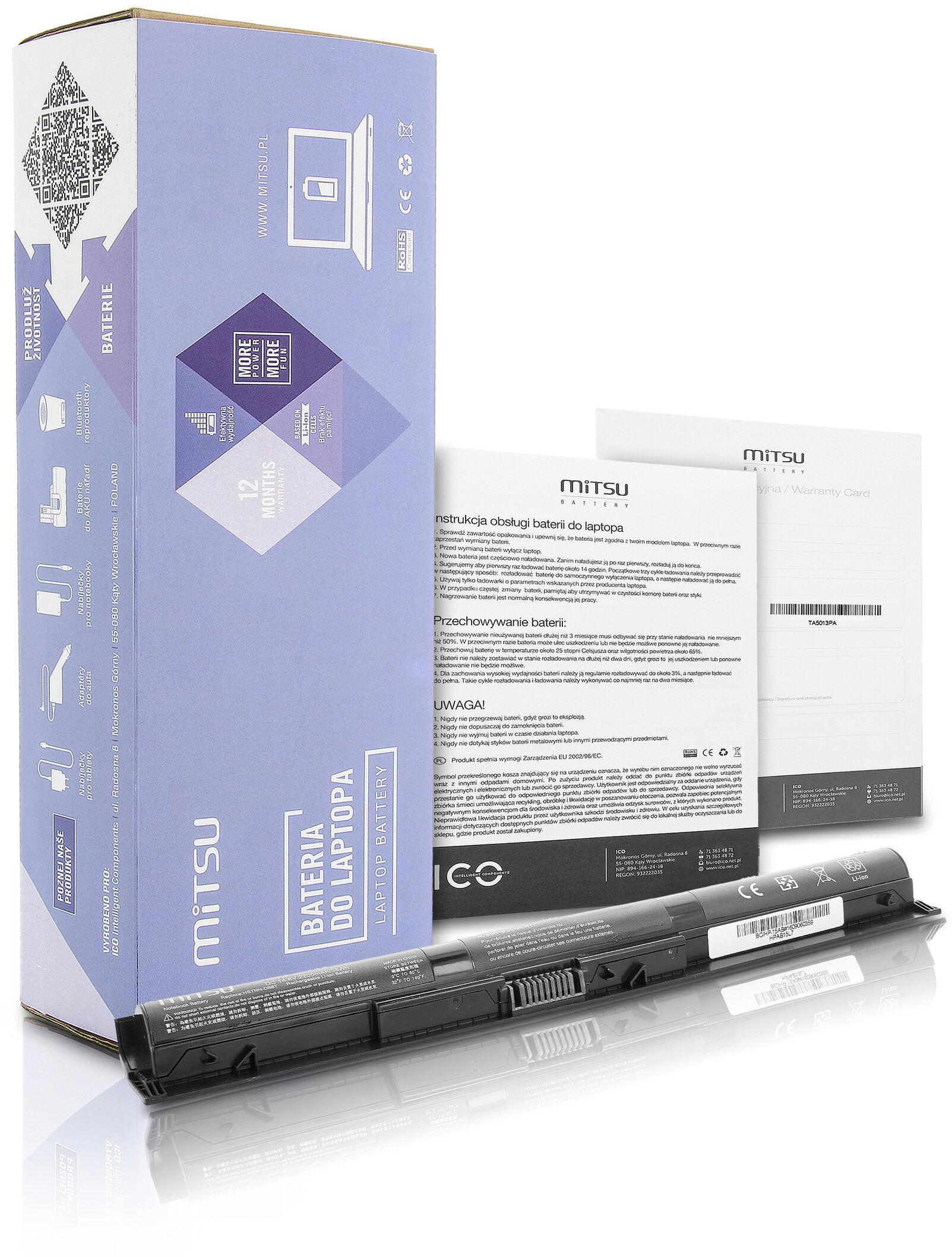 Bateria Mitsu do HP Pavilion 14-AB000, 15-AB000AU, 17-G000NF 2200 mAh