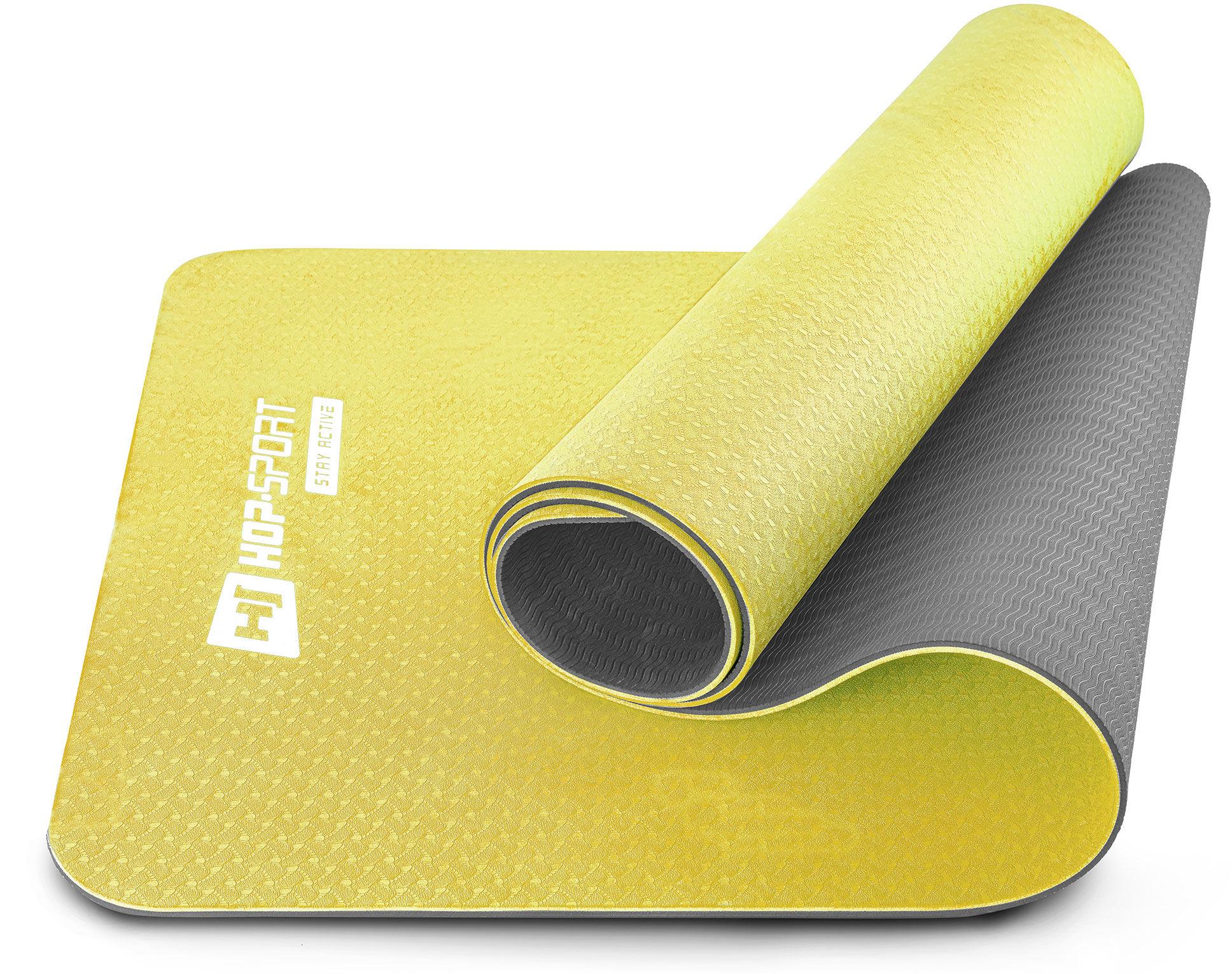 Mata fitness TPE 0,6cm żółto/szara
