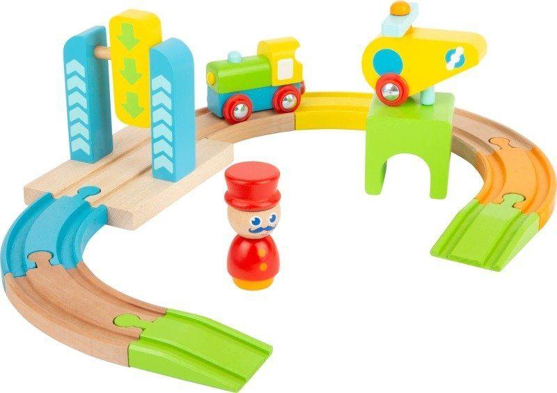 Kolejka drewniana zestaw Kolorowa Trasa Junior i helikopter 11493-Small Foot, kolejki dla dzieci