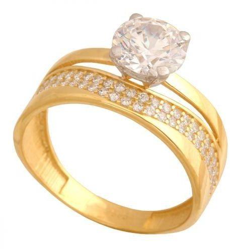 Złoty pierścionek nowoczesny Pk575