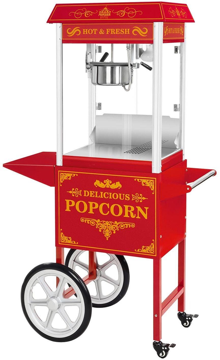 Maszyna do popcornu - wózek - czerwona + Żarówka LED RGB - Royal Catering - RCPW-16.3 Popcorn Machine LED Set - 3 lata gwarancji/wysyłka w 24h