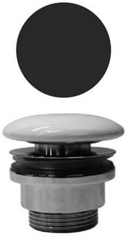 Niezamykany korek do umywalek, mosiądz/grzybek ceramiczny, czarny mat