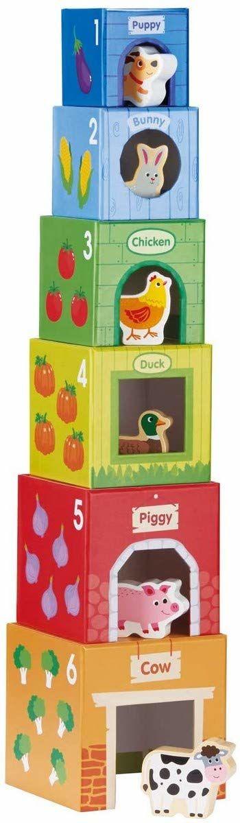 Lelin Toys - Układanie kostek - 6 przyjaciół w gospodarstwie wielokolorowe