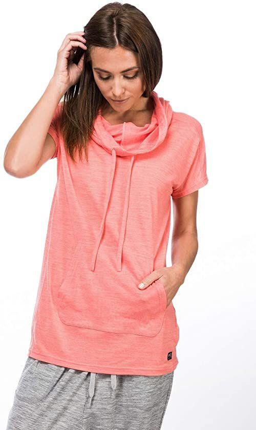 super.natural damska koszulka sukienka, z wełny merynosów, W FUNNEL DRESS różowy Georgia Peach Melange X-L