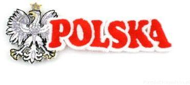 Naszywka haftowana. napis Polska