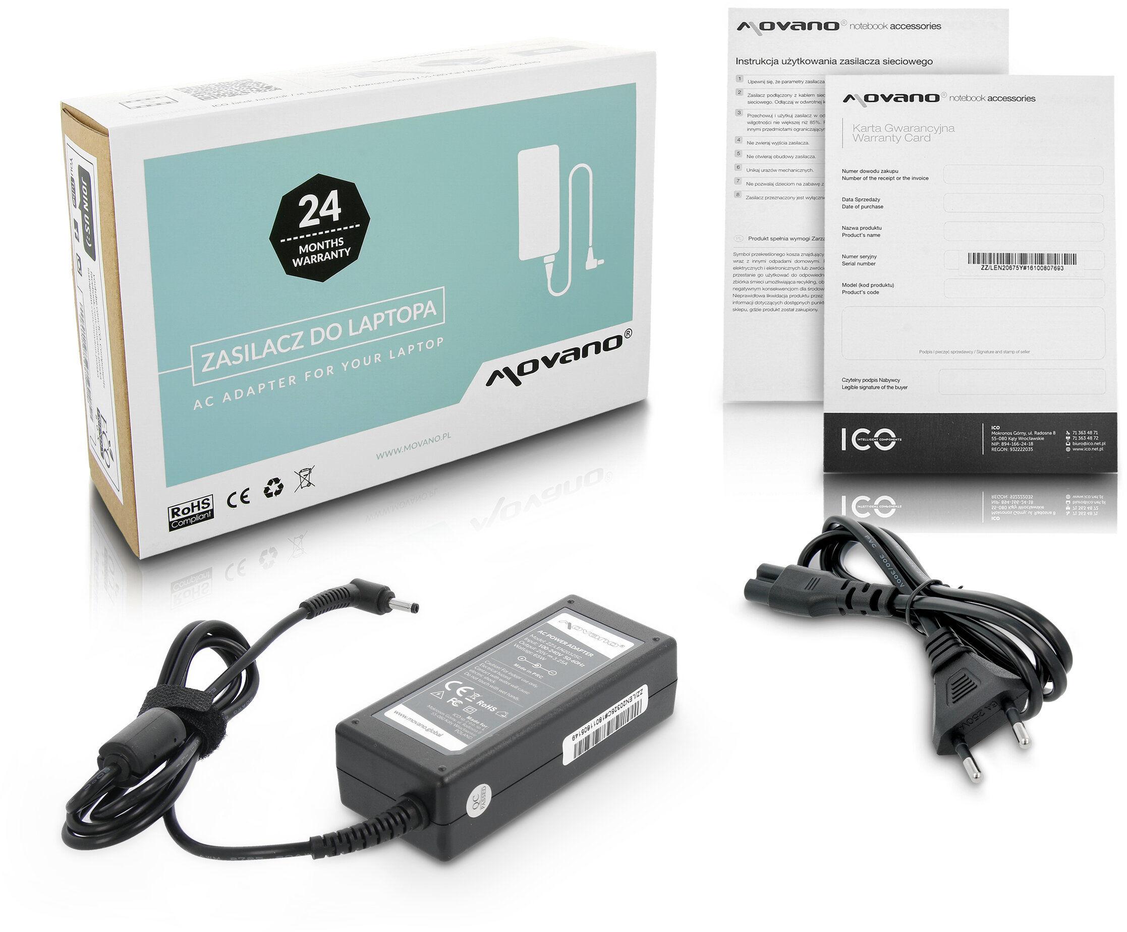 Zasilacz Movano 20v 3.25a (4.0x1.7) Lenovo IdeaPad 100 100-14, 100-14IBD, 100-14IBY