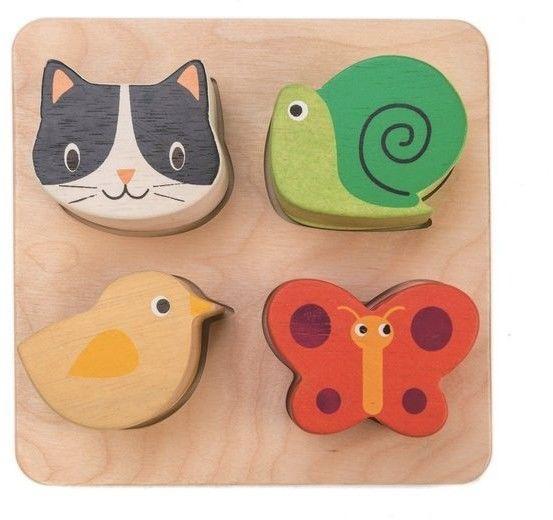 tender leaf toys - Drewniana Zabawka Sensoryczna - Zwierzęta - Kształty i Faktury, Tender Leaf Toys