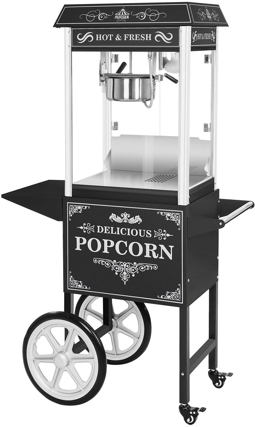 Maszyna do popcornu - wózek - czarna + Żarówka LED RGB - Royal Catering - RCPW-16.2 Popcorn Machine LED Set - 3 lata gwarancji/wysyłka w 24h