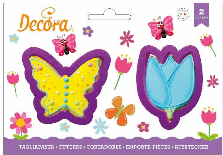 0255075 DECORA foremka z tworzywa sztucznego motyl i kwiaty 2-częściowy 9 x wys. 2,2 cm