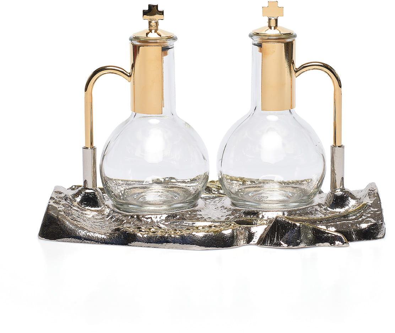 Ampułki na wino i wodę, komplet z tacą