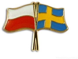 Flaga Polska - Szwecja, przypinka