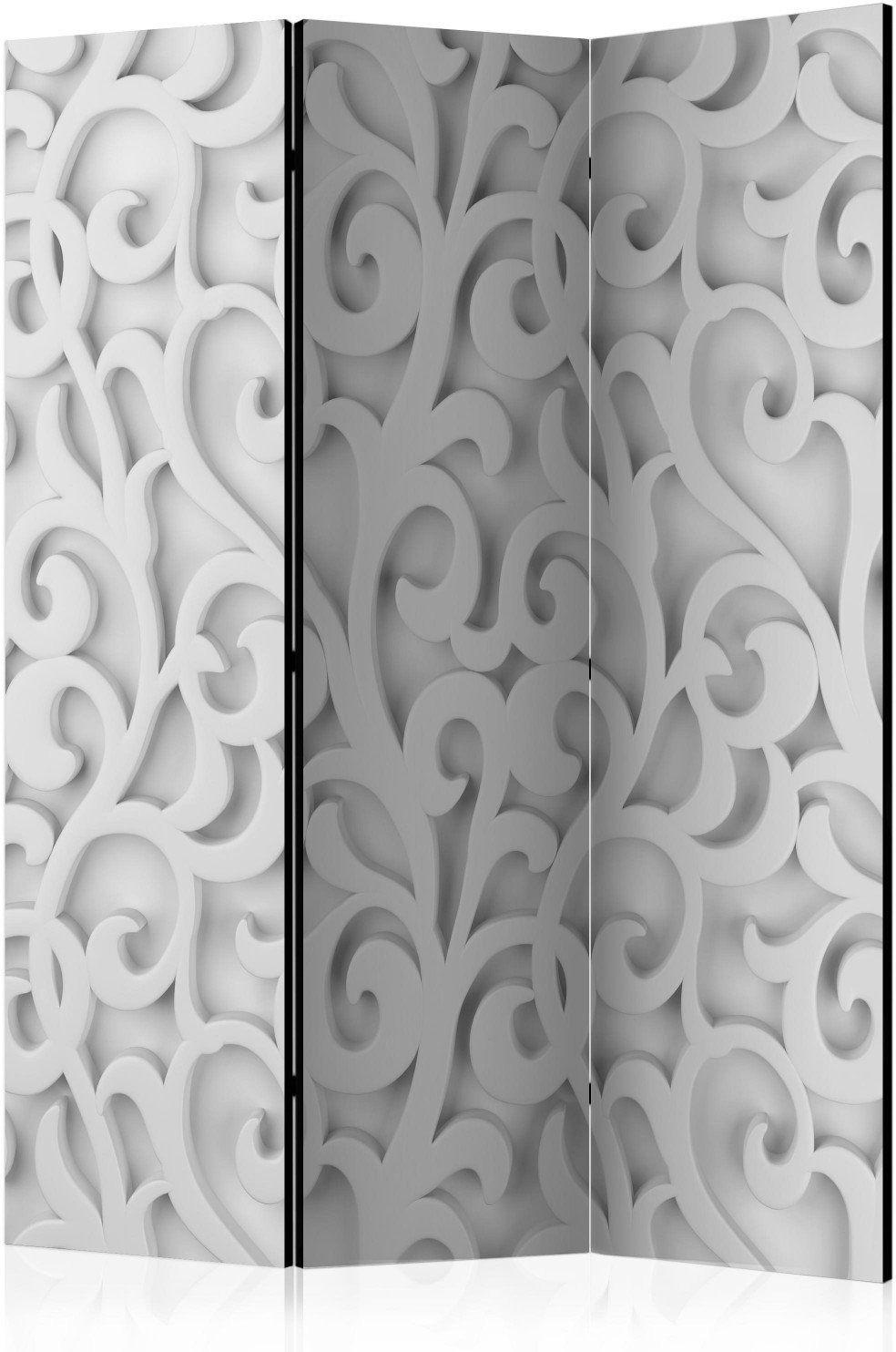 Parawan 3-częściowy - biały ornament [room dividers]