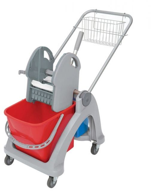 Wózek do sprzątania dwuwiadrowy TS-0008 Splast, czerwono-niebieski