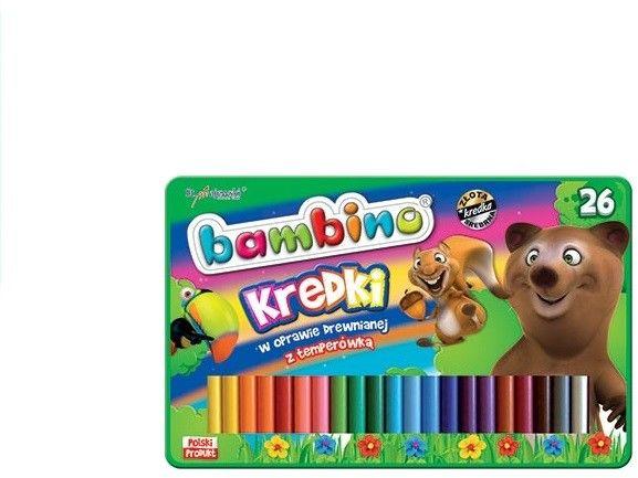 Kredki ołówkowe 26 kolorów w oprawie drewnianej metalowe pudełko + temperówka BAMBINO
